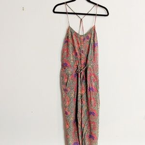 Free People Boho Floral Romper with Pockets & Tie